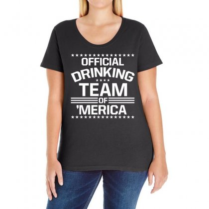 Official Drinking Team 'merica Ladies Curvy T-shirt Designed By 4kum