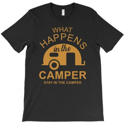 What Happens In Camper Stays In Camper Vintage Style Camp Funny T-shirt Designed By 4kum
