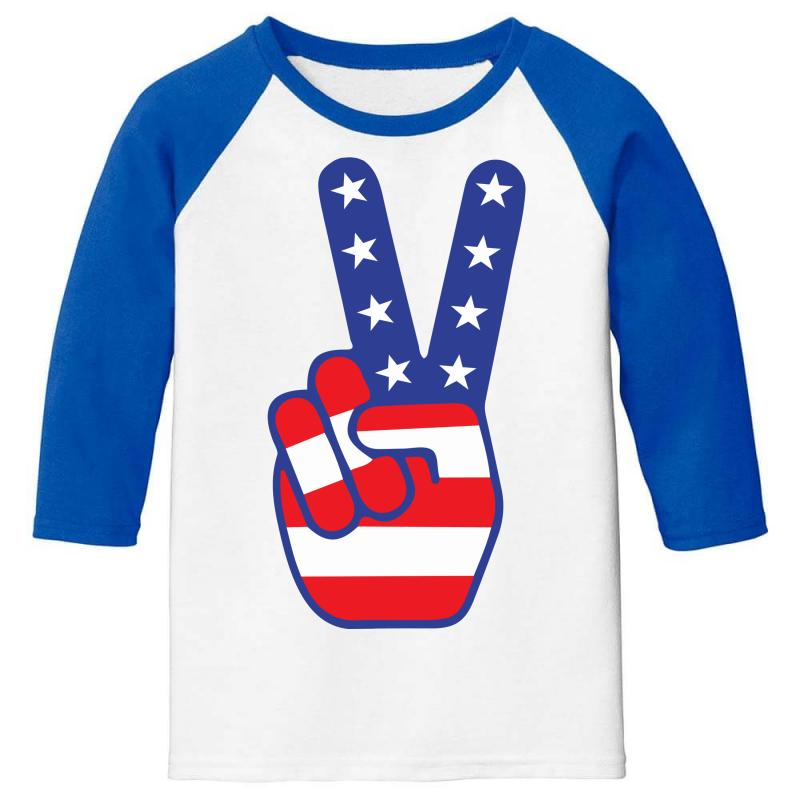 Peace Sign Hand Youth 3/4 Sleeve | Artistshot