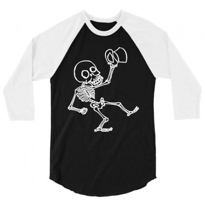Tophat Skeleton 3/4 Sleeve Shirt Designed By Hardpoi