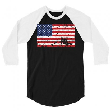 American Flag Skiing T Shirt   Skiingteam Gift 3/4 Sleeve Shirt Designed By Hung