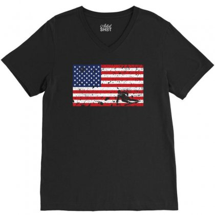 American Flag Skiing T Shirt   Skiingteam Gift V-neck Tee Designed By Hung