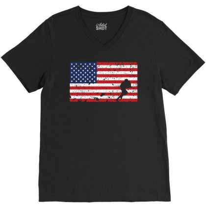 American Flag Rugby T Shirt   Rugby Team Gift V-neck Tee Designed By Hung