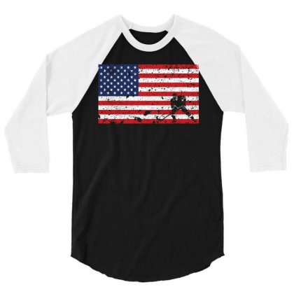 American Flag Hockey T Shirt   Hockey Team Gift 3/4 Sleeve Shirt Designed By Hung