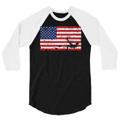 American Flag Football T Shirt   Football Team Gift 3/4 Sleeve Shirt Designed By Hung