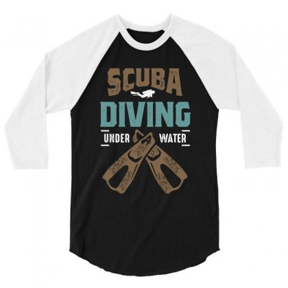 Scuba Diving Art 3/4 Sleeve Shirt Designed By Cidolopez