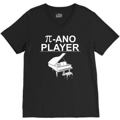 Pi Ano Player Funny Music Player T Shirt In Blue Typography V-neck Tee Designed By Hung