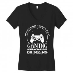 weekend forecast mountain gaming with a chance of drinking Women's V-Neck T-Shirt | Artistshot