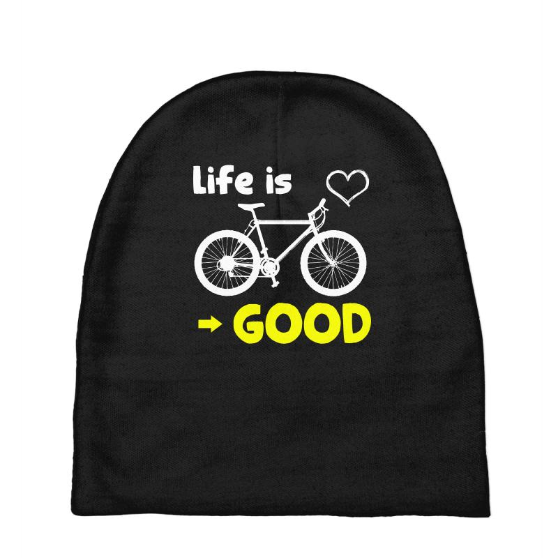 Life Is Good Biking Bicycling Graphic Tee T Shirt Baby Beanies  By  Artistshot