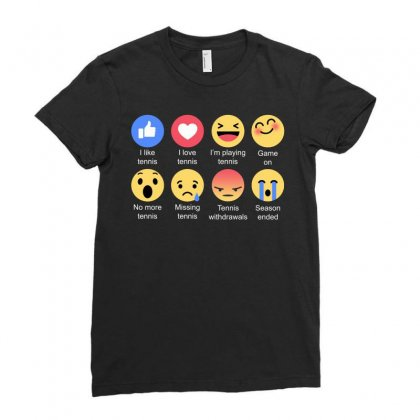 I Love Tennis Emoji T Shirt Ladies Fitted T-shirt Designed By Hung
