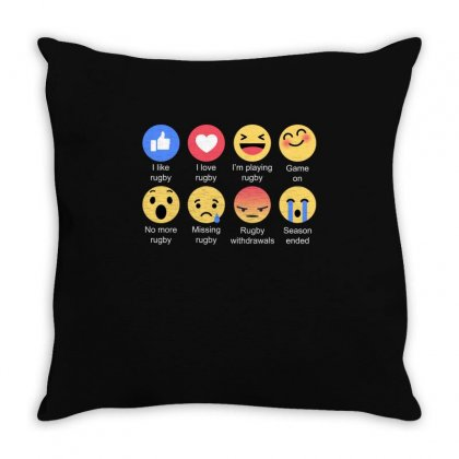 I Love Rugby Emoji T Shirt Throw Pillow Designed By Hung