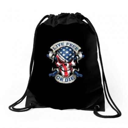 Live Free Or Die Drawstring Bags Designed By Anrora