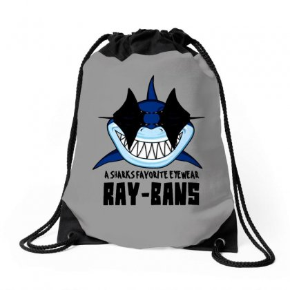 Sharks Favorite Eyewear Ray Bans Funny Pun Drawstring Bags Designed By Milanacr
