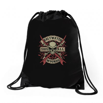 Salt Water Cures All Wounds Drawstring Bags Designed By Anrora