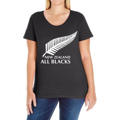 New Zealand All Blacks Rugby Ladies Curvy T-shirt Designed By S4de