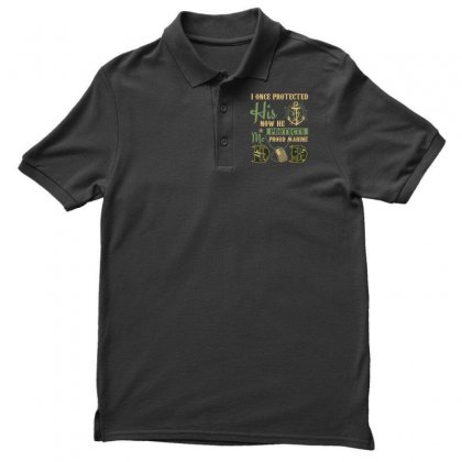 Men S Proud Marine Dad Of His Military Son T Shirt Men's Polo Shirt