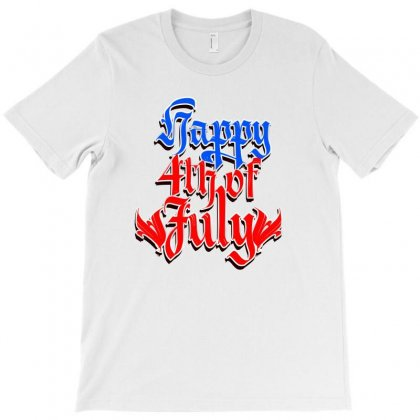 4th Of July Lettering T-shirt Designed By Tiococacola