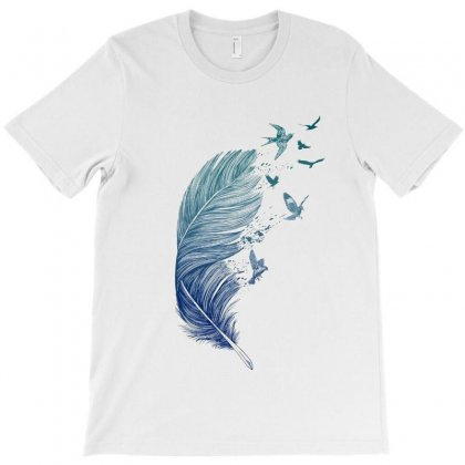 Blue Feather T-shirt Designed By Milanacr
