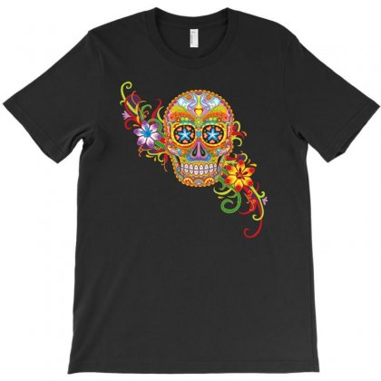 Women's Sugar Skull Purple T-shirt Designed By S4de