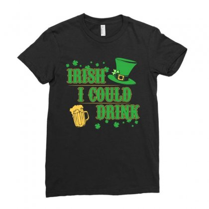 Irish I Could Drink Maternity Shirt St Patrick S Day Shirt Ladies Fitted T-shirt Designed By Hung