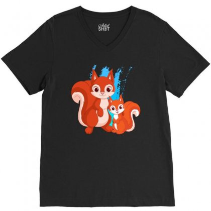 Mother And Little Squirrel V-neck Tee Designed By Milanacr