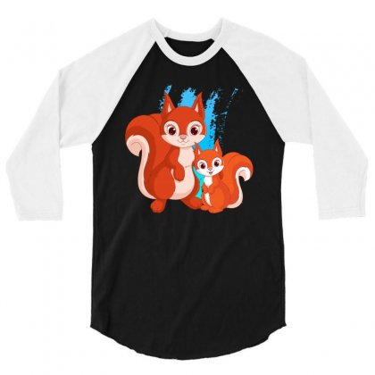 Mother And Little Squirrel 3/4 Sleeve Shirt Designed By Milanacr
