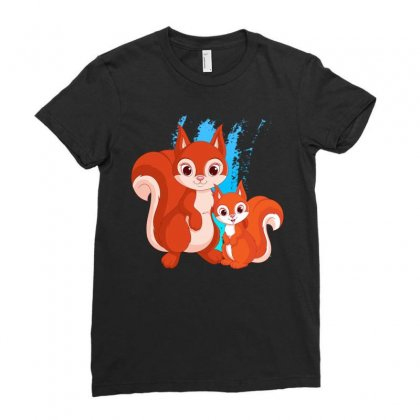 Mother And Little Squirrel Ladies Fitted T-shirt Designed By Milanacr