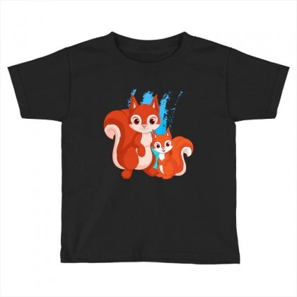 Mother And Little Squirrel Toddler T-shirt Designed By Milanacr