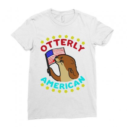 Otterly American Ladies Fitted T-shirt Designed By Milanacr