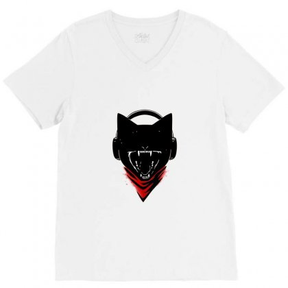 Monster Cat V-neck Tee Designed By Awangsastrawan