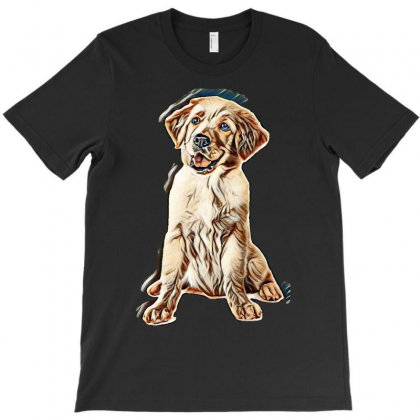 Isolated Dog Puppy Golden T-shirt Designed By Kemnabi