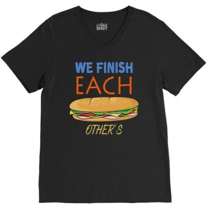 Matching Couples T Shirt #1, Sandwiche V-neck Tee Designed By Hung