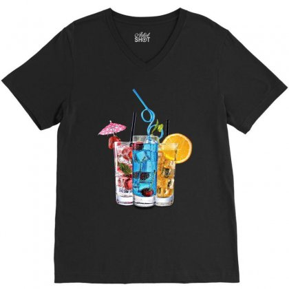Summer Ice Iced Juice Cola V-neck Tee Designed By Milanacr