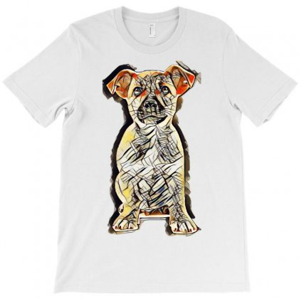 Dog Puppy White Brown T-shirt Designed By Kemnabi