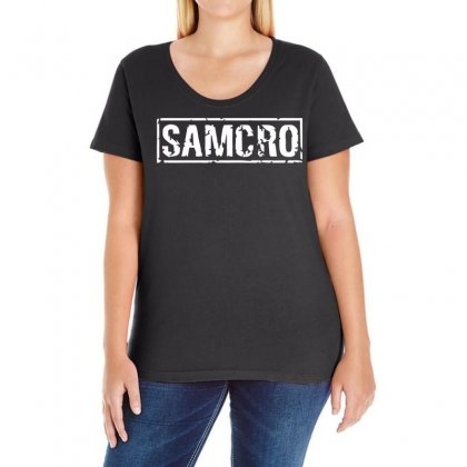 Samcro Funny Retro Biker Gang Sons Fancy Dress Anarchy Vintage Ladies Curvy T-shirt Designed By Holil