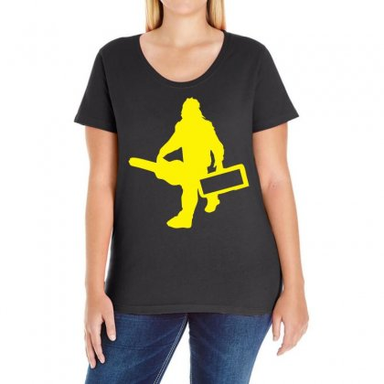 Sasquatch Guitar Gear  Funny Bigfoot Yeti Comic Monster Retro Ladies Curvy T-shirt Designed By Holil