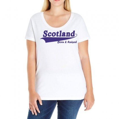 Scotland Born And Raised Retro White & Navy International Country Ladies Curvy T-shirt Designed By Holil