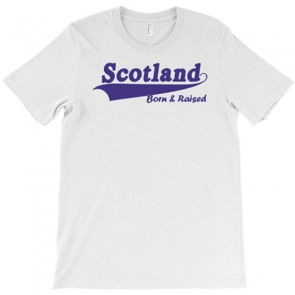 Scotland Born And Raised Retro White & Navy International Country T-shirt Designed By Holil
