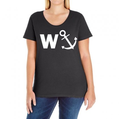 W Anchor Funny Pub Joke Ladies Curvy T-shirt Designed By Holil