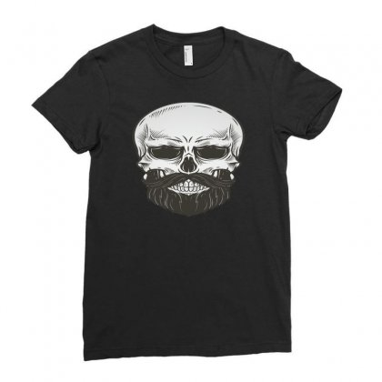 Bearded Skull Illustration Ladies Fitted T-shirt Designed By Teebuck