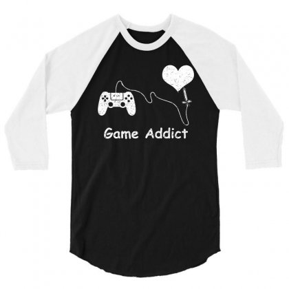 Game Addict T Shirt 3/4 Sleeve Shirt Designed By Hung