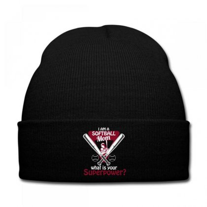 I Am A Softball Mom What Is Your Superpower Knit Cap Designed By Wizarts