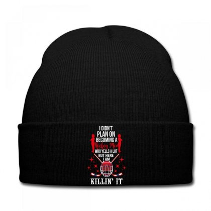 I Diddn't Plan On Becoming A Hockey Mom Knit Cap Designed By Wizarts