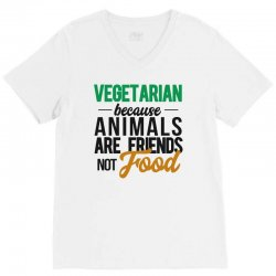 vegetarian because animals are friends not food V-Neck Tee | Artistshot