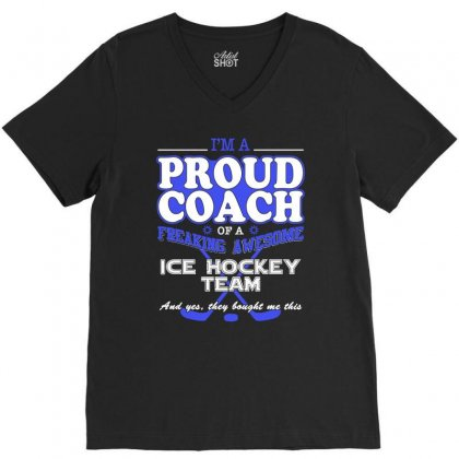 Proud Ice Hockey Coach Shirt   Gift For Ice Hockey Coach V-neck Tee Designed By Hung