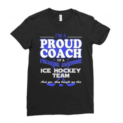 Proud Ice Hockey Coach Shirt   Gift For Ice Hockey Coach Ladies Fitted T-shirt Designed By Hung