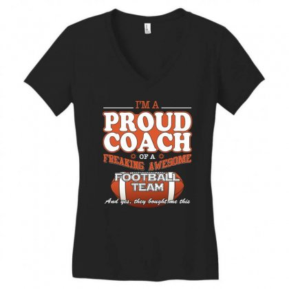 Proud Football Coach Shirt   Gift For Football Coach Women's V-neck T-shirt Designed By Hung
