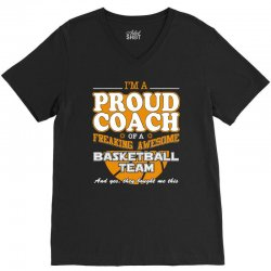 proud basketball coach shirt   gift for basketball coach V-Neck Tee | Artistshot