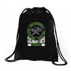 culinary arts student   no sleep, money, life t shirt Drawstring Bags | Artistshot