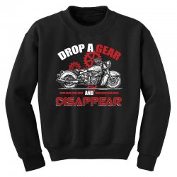 drop a gear and disappear   motorcycle t shirt Youth Sweatshirt | Artistshot